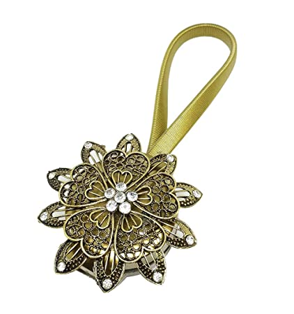 BIPY Curtain Clips Tiebacks Magnetic With Crystal Flower Bronze Shower Adhesive Buckles Holdbacks Tie Backs Pack Of 1 Amazoncouk Kitchen