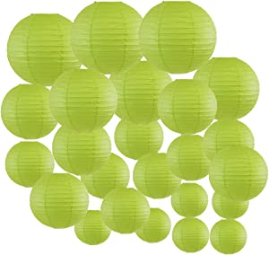 Just Artifacts Decorative Round Chinese Paper Lanterns 24pcs Assorted Sizes (Color: Light Green)
