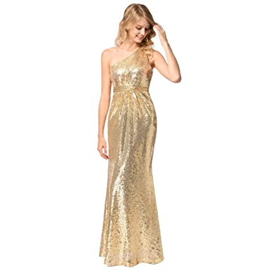 YULUOSHA Women Gold Sequin Long Flare Mermaid Prom Gown Formal Evening Dress Bridesmaid