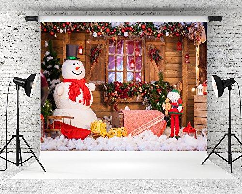 hmt 10x65ft wood house christmas backdrop snowman backgrounds winter backdrop