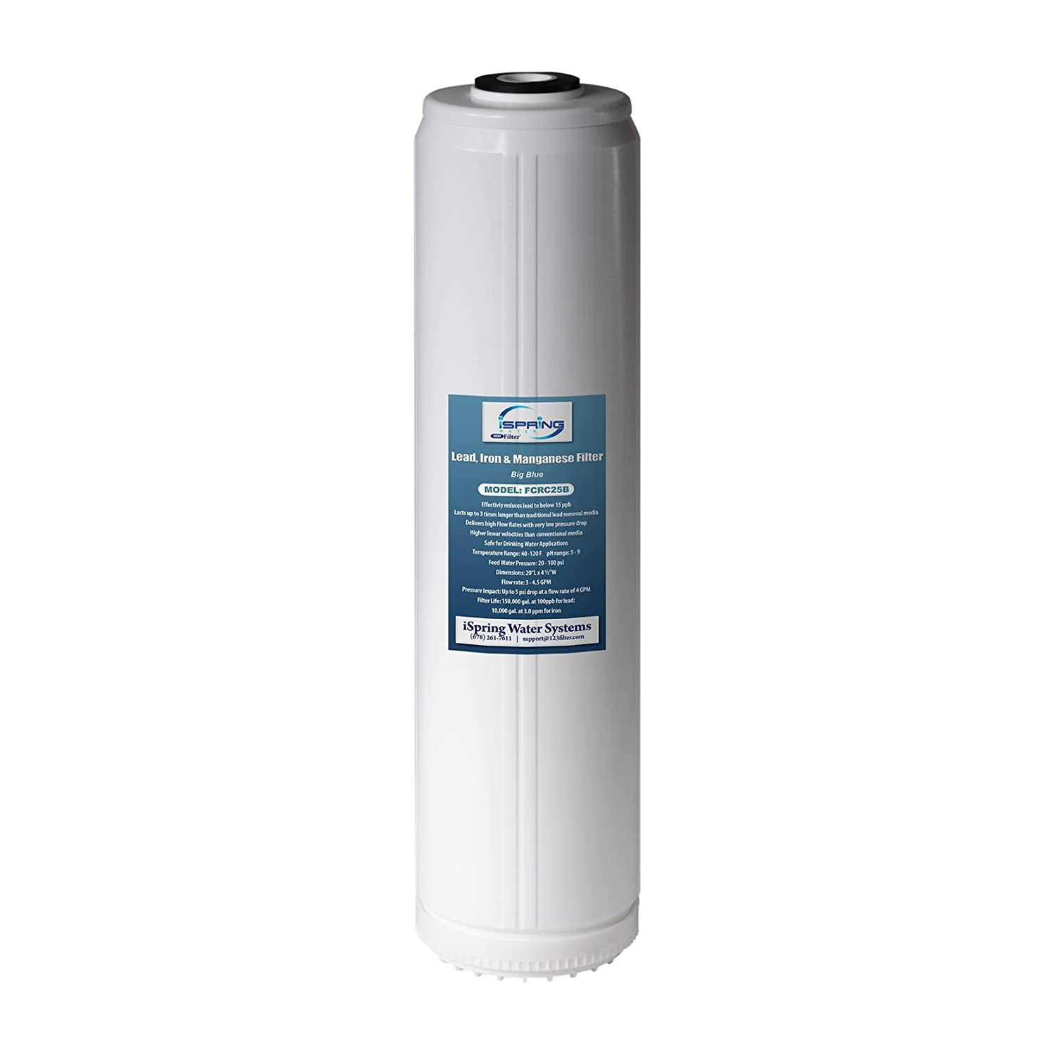 iSpring FCRC25B Lead & Iron Reducing Replacement Water Filter, Ultra High Capacity 4.5 inch x 20 inch Big Blue iSpring Water Systems