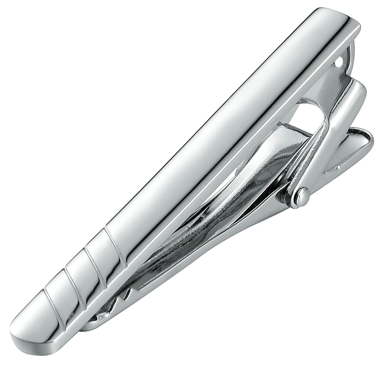Bishilin Stainless Steel Tie Clip for Men with Eagraving Lines Pattern Silver Wedding Business