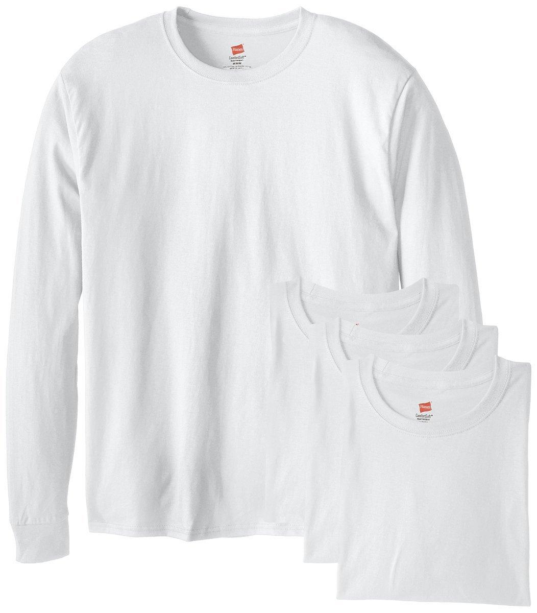 Hanes Men's 4 Pack Long Sleeve Comfortsoft T-Shirt, White, Large