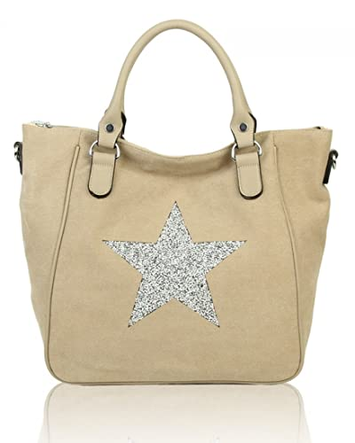 920527fdb LeahWard Women's Soft Canvas Diamante Star Shopper Bag Large Handbags  Shoulder Bag For Women Light Weight
