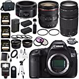 Canon EOS 5DS-R 5DSR DSLR Camera + EF 24-70mm f/4L IS USM Lens + Canon EF 75-300mm f/4-5.6 III Telephoto Zoom Lens + Canon EF 50mm f/1.8 STM Lens + LPE-6 Lithium Ion Battery Bundle 12