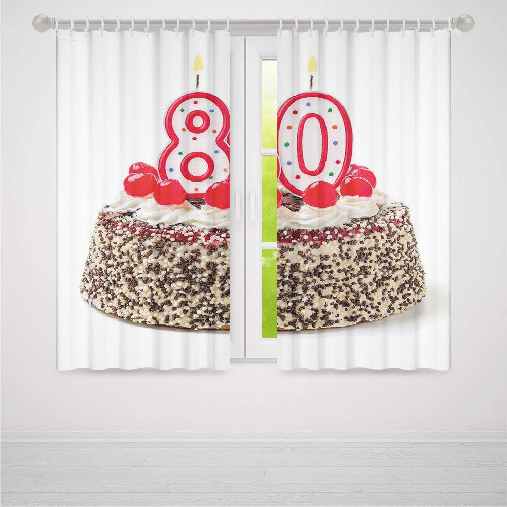 TecBillion Decor Collection,80th Birthday Decorations,for Bedroom Living Dining Room Kids Youth Room,Birthday Party Cake with Cherries Sprinkles and Candles Image2 Panel Set,79W X 62L Inches