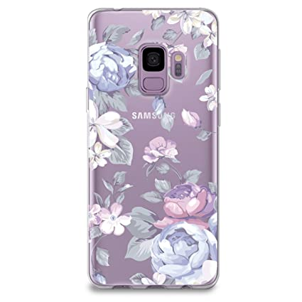 watch fdafe 85767 CasesByLorraine Samsung S9 Case, Purple Floral Flower Clear Transparent  Case Flexible TPU Soft Gel Protective Cover for Samsung Galaxy S9 (I33)