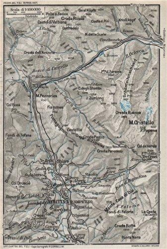 Amazoncom CORTINA DAMPEZZO ENVIRONS Vintage topo map plan