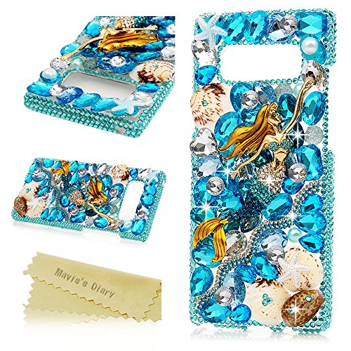 Note Mermaid (Note 8 Case,Mavis's Diary Luxury 3D Handmade Bling Crystal Rhinestone Full Diamonds Blue Ocean Style Mermaid Shell Hard PC Plastic Clear Protective Cover for Samsung Galaxy Note 8)
