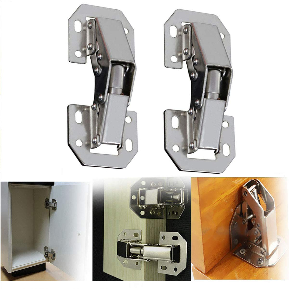 2 Pieces of 4 inch 90 Degree Concealed Cabinet Spring Door Hinge Without Drilling Hinge Furniture Hinge Full Coverage