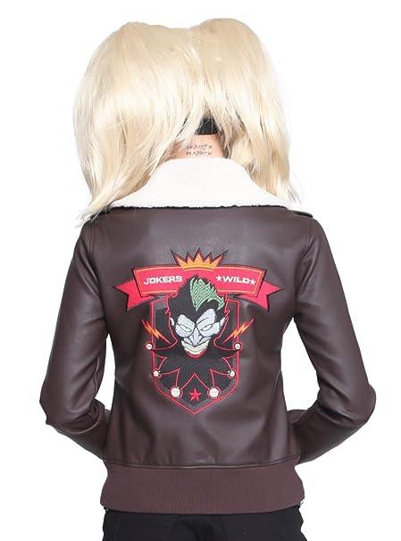 DC Comics Bombshells Harley Quinn Aviator Chaqueta: Amazon ...