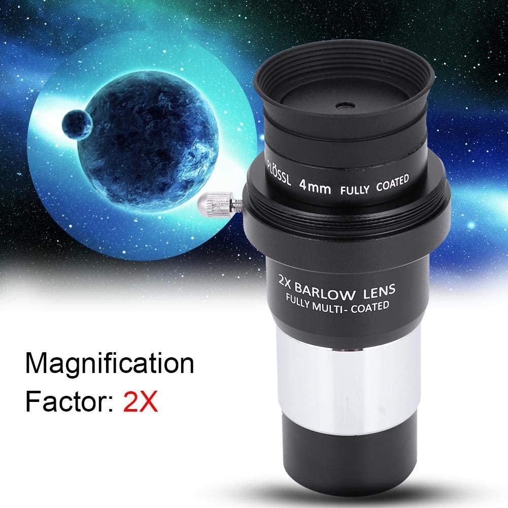 2X Barlow Lens Kit with 3 Eyepieces for Astronomy Sturdy Durable 1.25 Plossl Telescope Eyepiece Set 4//10//25mm Taidda Plossl Eyepiece