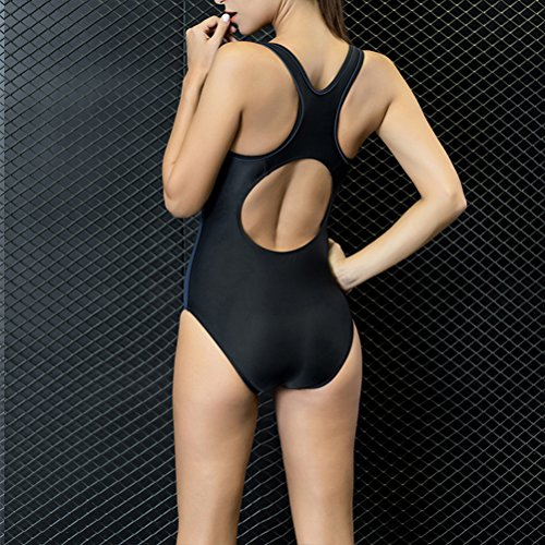 Zhhlaixing Women's Leotard nadando Slimming Swimsuit Beachwear Swimwear 7744# Black&Gray