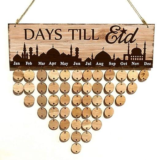 Amosfun Calendario suspendida de Madera DIY Agenda Ramadan ...