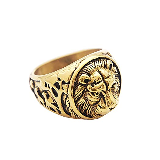 MonkeyJack Retro Stainless Steel Ring Gold Lion Head Rings Animal