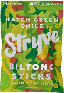 product image for Stryve Mini Snack Beef Sticks. 14g Protein, Sugar Free, No Carbs, Gluten Free, No Nitrates, No MSG, No Preservatives. Keto and Paleo Friendly. Hatch Green Chile, 8oz