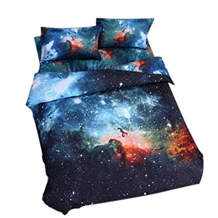 alicemall king size galaxy bedding outer space home textile fabric polyester 4 piece duvet cover - Space Bedding