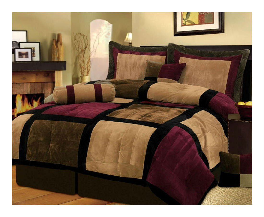 ブルゴーニュ+ブラウンとブラックスエードパッチワーク掛け布団セット/ bed-in-a-bag King size B01K2WIDWW B01K2WIDWW  King size