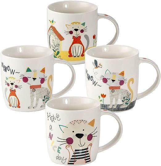 Juego Tazas de Café, Tazas Desayuno Originales de Té Café, Porcelana con Diseño de Lindo Gato, 4 Piezas - Regalos para Amantes de los Gatos Mujeres y Hombres: Amazon.es: Hogar