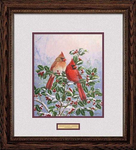 Winter's Splendor Cardinals by Marc Hanson Signature Framed Print Open Edition