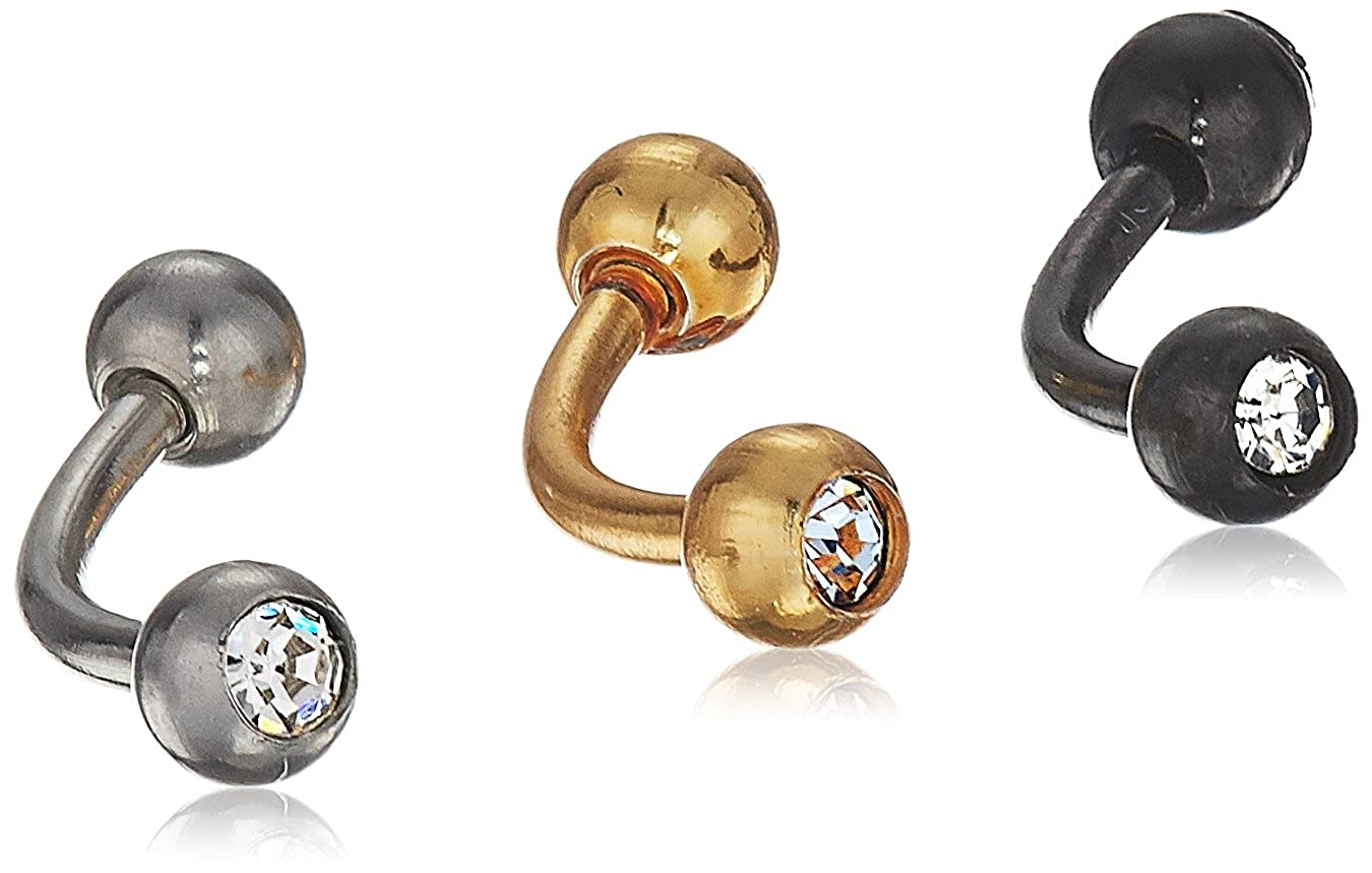 cfb063f072e Amazon.com  Women s Set Of 3 Black 18K Gold Plated And Surgical Stainless  Steel Cubic Zirconia Ball Eyebrow Body Piercing Jewelry Ring