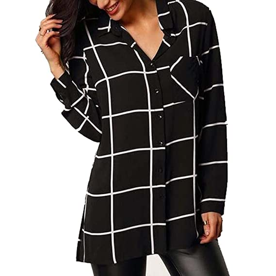 QinMM Camisa de Gasa a Cuadros de Mujer, Blusa de Manga Larga (Negro,