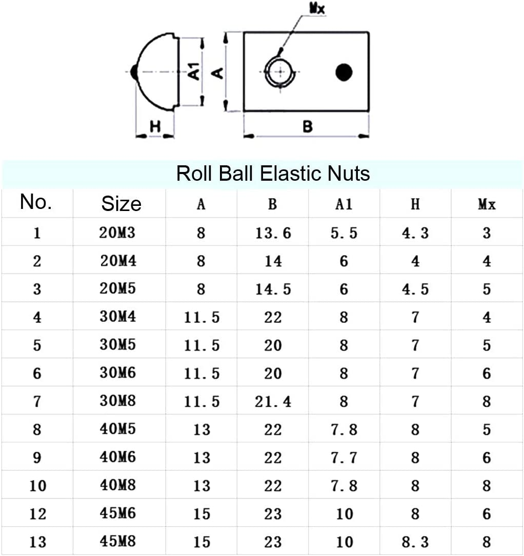 Pack of 12 Roll Ball Elastic Nuts for 2020 Series Aluminum Extrusion Profile uxcell Roll-in Spring M3 T Nut