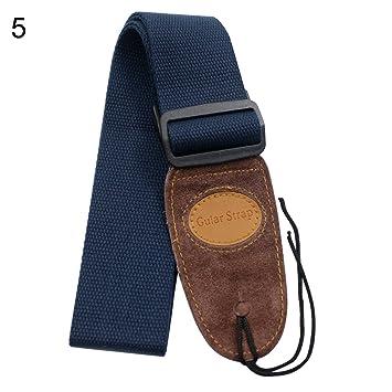 Yeshi Ampliación algodón ajustable cinturón correa para guitarra para Folk Guitarra eléctrica acústica de graves azul marino: Amazon.es: Hogar