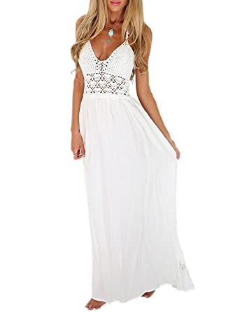 59f61ea6b1b6bb LILBETTER Women s Beach Crochet Backless Bohemian Halter Maxi Long Dress (XS