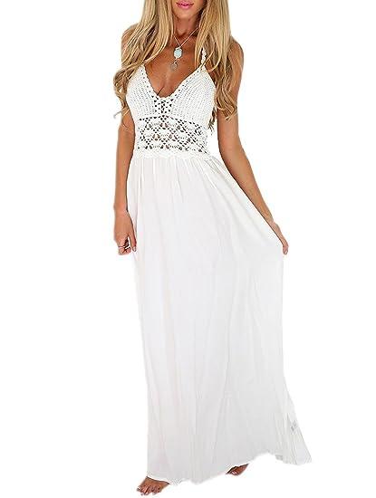 0098bec113f24 LILBETTER Women's Beach Crochet Backless Bohemian Halter Maxi Long Dress