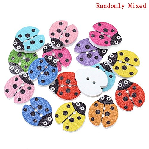 areeratshop Wood Sewing Button Scrapbooking Ladybug Mixed Two Holes 18.0mm( 6/8
