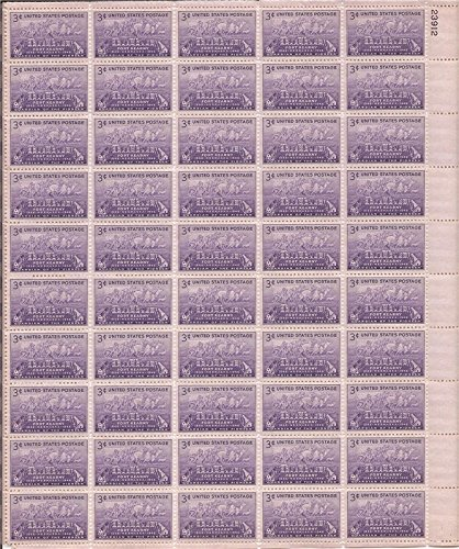 USPS Fort Kearny Complete Sheet of 50 x 3 Cent Stamps Scott 970