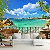 Ohcde Dheark Summer Beach Terrace Landscape 3D Wall Mural Photography Wall Painting Custom Wallpaper Living Room Tv Background Contact Paper 200cmX140cm(78.7 by 55.1 in )