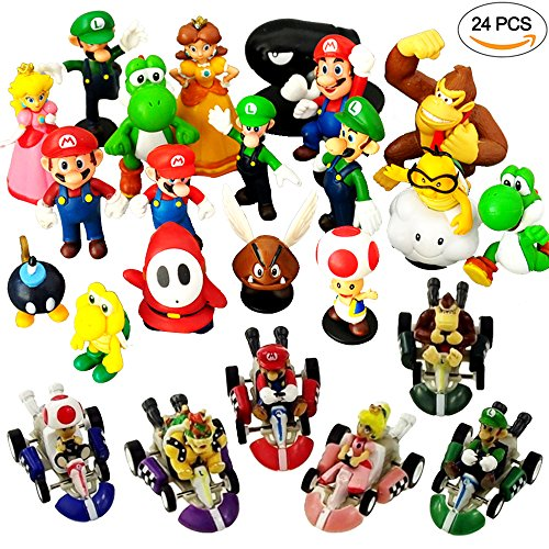 24 PCS Mario Brothers Toy Figure Playsets - Pull Back Cars - Cake Toppers for Kids (Mario Kart Figurines)