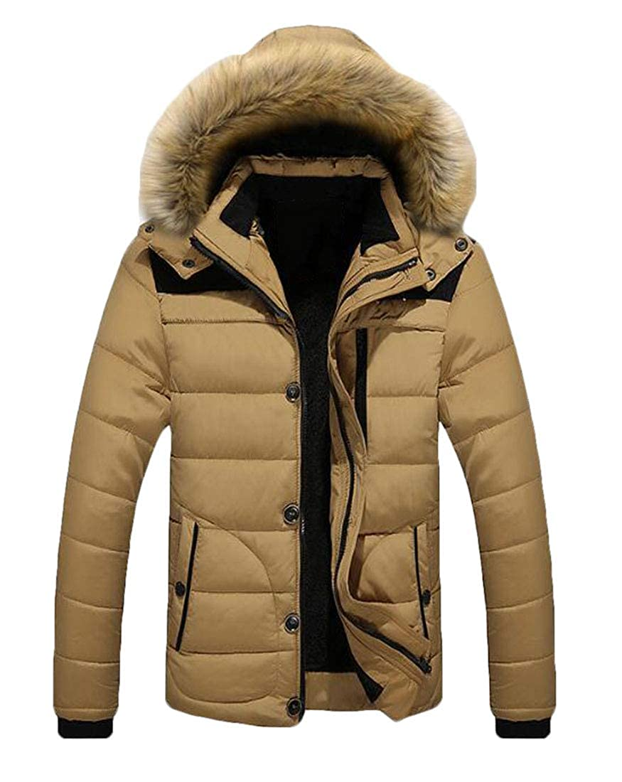 KLJR Men Winter Large Size Casual Hooded Thickened Fleece Down Jacket
