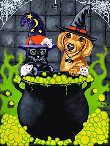 Caroline's Treasures AMB1434CHF Brewing up Trouble Halloween Dachshund Canvas House Flag, Large, Multicolor