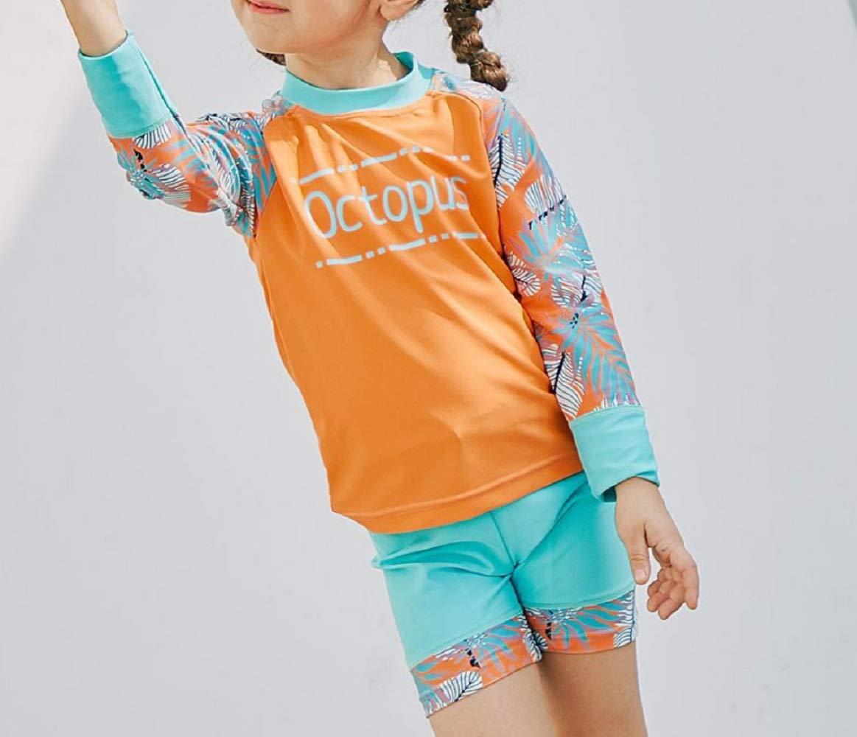 Yunqir Kids Wetsuit Children Long Sleeve Split Swimsuits Kids Sunscreen Letter Printing Wetsuit for Water Sports(Orange)