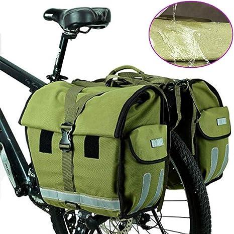 YAOBAO 50L Impermeable - Bolsa De Asiento Trasero para Bicicleta Resistente Bolsa De Maleta Doble Verde del Ejército, Ciclismo En La Ciudad Ciclismo De Larga Distancia Al Aire Libre, 1 Piezas: Amazon.es: