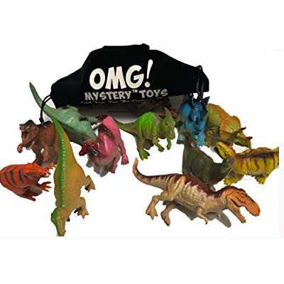 OMG Dinosaur Toys - 7 inches Realistic Looking Dinosaurs Press with Sound [Pack of 12] -Plastic Dinosaur Figures for Dino-Themed Events, Dinosaurs History Educational Sheet. Assorted Kids Toys: Toys & Games