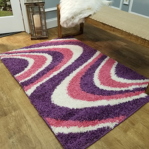 Shag Area Rug 3x5   Wave Curve Pink Purple Ivory Shag Rugs for Living Room Bedroom Nursery Kids College Dorm Carpet by European Made MH10 Maxy Home