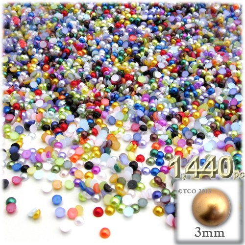 (The Crafts Outlet 1440-Piece Pearl Finish Half Dome Round Beads, 3mm, Multi Mix)