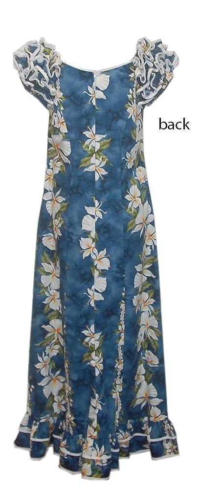 87cd9f360aa4 Jade Fashions Inc. Women's Hawaiian Cotton Blue Ginger Ruffle Sleeves Long  Dress at Amazon Women's Clothing store: