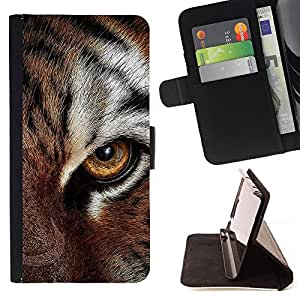 BullDog Case - FOR/Apple Iphone 5 / 5S / - / eye feline tiger fur cute cat big animal /- Monedero de cuero de la PU Llevar cubierta de la caja con el ID Credit Card Slots Flip funda de cuer
