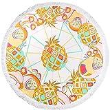 ANswet Handmade Pile Cut 100% Cotton Sand Beach Towel Picnic Beach Sheet Yoga Sheet Meditation Yoga Mat with 8 Colors Diameter 150 cm (pineapple)