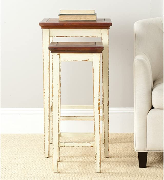 Safavieh American Homes Collection Ryde Antiqued White and Dark Brown Nesting Tables