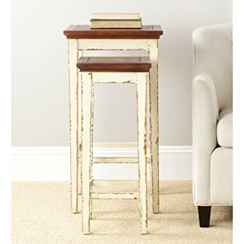 Delicieux Safavieh American Homes Collection Ryde Antiqued White And Dark Brown Nesting  Tables