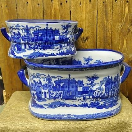 more photos vast selection on sale Set 2 Vintage Look Ceramic Blue & White Foot bath Planters