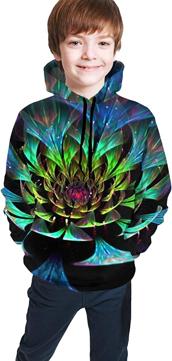 Kjiurhfyheuij 3D Print Pullover Hoodies with Pocket Lotus Flower Light Fleece Hooded Sweatshirt for Youth Kids Boys Girls