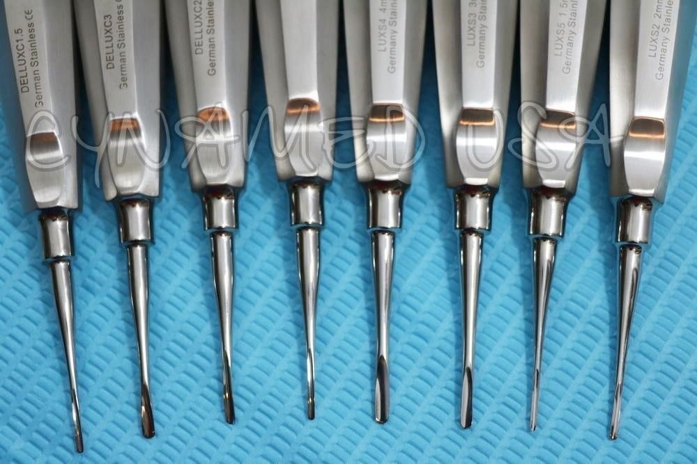 GERMAN 8 PC STRAIGHT +CURVED DENTAL SURGERY EXTRACTING LUXATING APICAL ROOT TIP ELEVATOR ( SET OF 8 EACH )