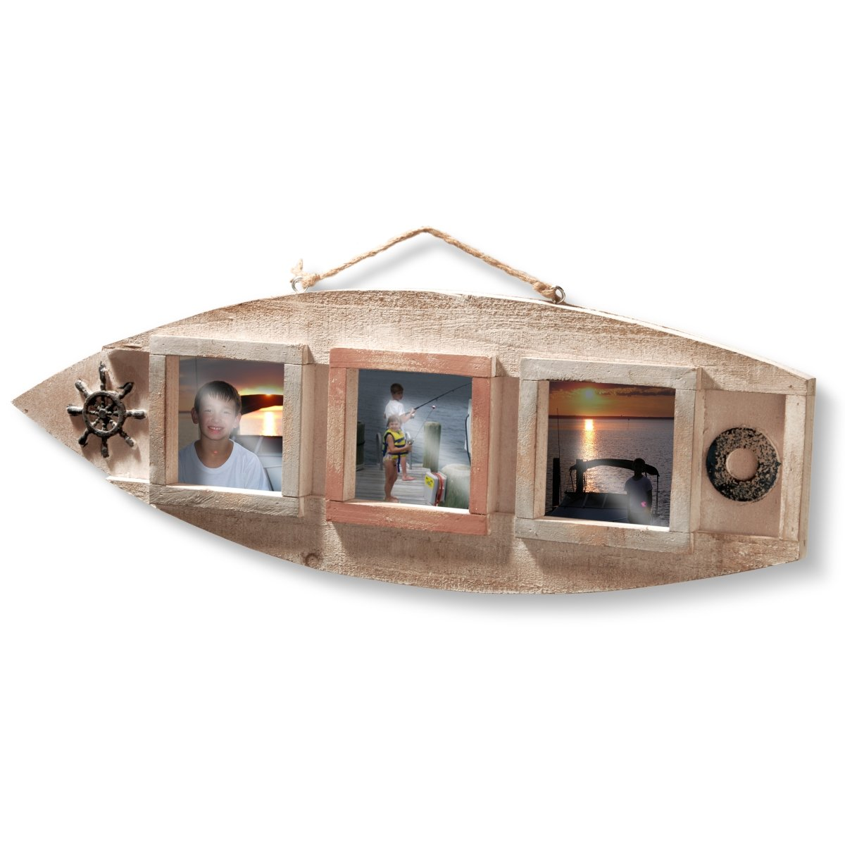 National Tree 23 Inch Nautical Wooden Frame with 3 Photo Windows (RAS-16S1763-1)